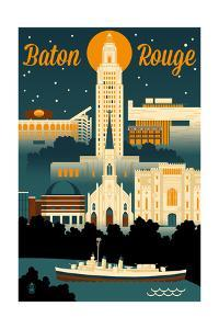 Baton Rouge, Louisiana - Retro Skyline by Lantern Press