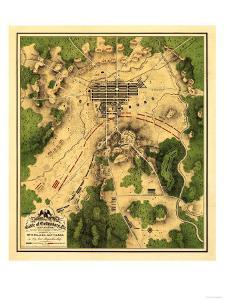 Battle of Gettysburg - Civil War Panoramic Map by Lantern Press
