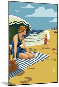 Beach Scene with Woman by Lantern Press