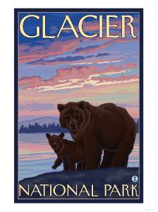 Bear and Cub, Glacier National Park, Montana by Lantern Press