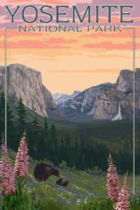 Bears and Spring Flowers - Yosemite National Park, California by Lantern Press