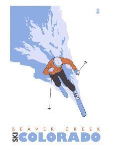 Beaver Creek, Colorado, Stylized Skier by Lantern Press