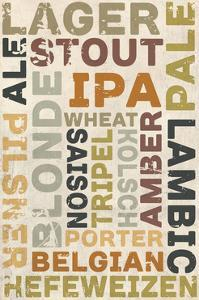 Beer Typography - Types of Beer by Lantern Press