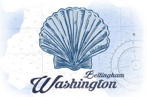 Bellingham, Washington - Scallop Shell - Blue - Coastal Icon by Lantern Press
