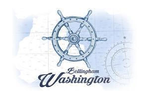 Bellingham, Washington - Ship Wheel - Blue - Coastal Icon by Lantern Press