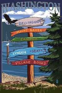 Bellingham, Washington - Signpost Destinations (Version 2) by Lantern Press