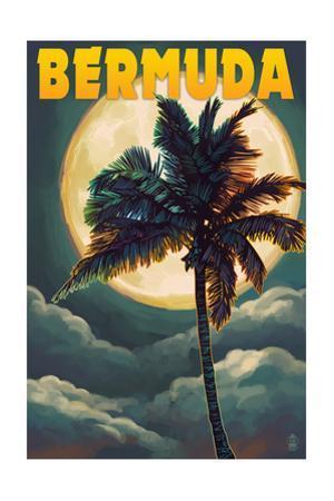 Bermuda - Palm and Moon by Lantern Press