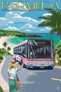 Bermuda - Pink Bus on Coastline by Lantern Press