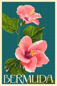 Bermuda - Pink Hibiscus by Lantern Press