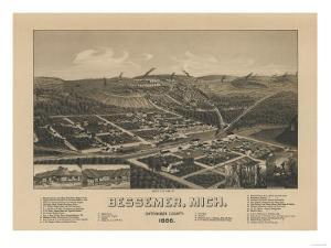 Bessemer, Michigan - Panoramic Map by Lantern Press