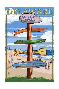 Bethany Beach, Delaware - Destination Signpost by Lantern Press
