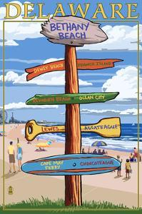 Bethany Beach, Delaware - Destination Signpost by Lantern Press