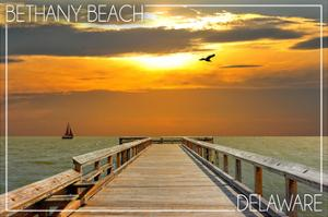 Bethany Beach, Delaware - Dock at Sunset by Lantern Press