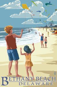 Bethany Beach, Delaware - Kite Flyers by Lantern Press