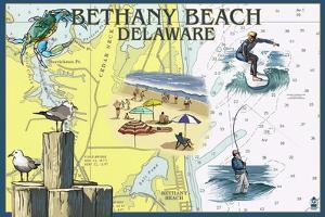 Bethany Beach, Delaware - Nautical Chart by Lantern Press