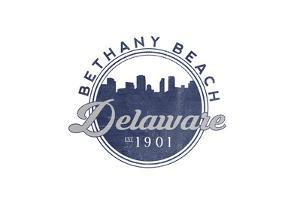 Bethany Beach, Delaware - Skyline Seal (Blue) by Lantern Press