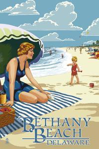 Bethany Beach, Delaware - Woman on Beach by Lantern Press