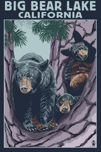 Big Bear Lake, California -Bear and Cubs by Lantern Press