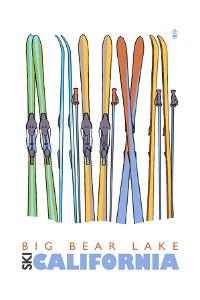 Big Bear Lake - California - Skis in Snow by Lantern Press