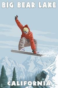 Big Bear Lake - California - Snowboarder Jumping by Lantern Press