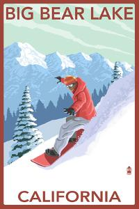 Big Bear Lake - California - Snowboarder by Lantern Press