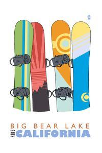 Big Bear Lake - California - Snowboards in Snow by Lantern Press