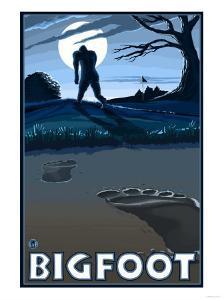 Big Foot walking through Golf Course by Lantern Press