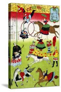 Big French Circus on the Grounds of Yasukuni Shrine, Japanese Wood-Cut Print by Lantern Press