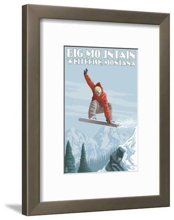 Big Mountain - Whitefish, Montana - Snowboarder Jumping