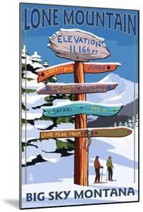 Big Sky, Montana - Lone Mountain - Ski Signpost by Lantern Press