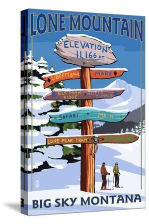 Big Sky, Montana - Lone Mountain - Ski Signpost