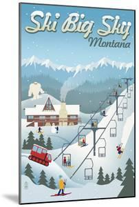 Big Sky, Montana - Retro Ski Resort by Lantern Press