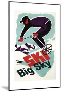 Big Sky, Montana - Retro Skier by Lantern Press