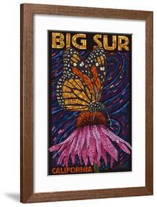 Big Sur, California - Butterfly and Flower by Lantern Press