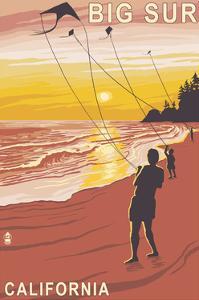 Big Sur, California - Kite Flyer by Lantern Press