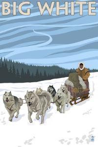 Big White - Dog Sled Scene by Lantern Press
