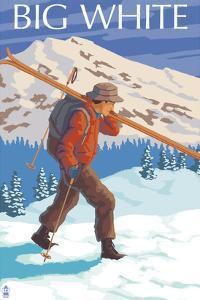 Big White - Skier Carrying by Lantern Press