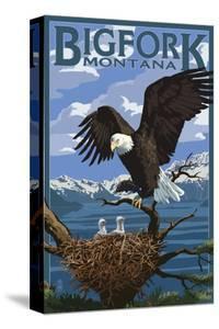 Bigfork, Montana - Eagle and Chicks by Lantern Press