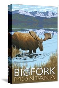 Bigfork, Montana - Moose and Lake by Lantern Press