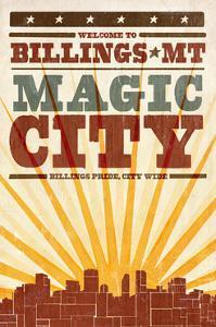 Billings, Montana - Skyline and Sunburst Screenprint Style by Lantern Press