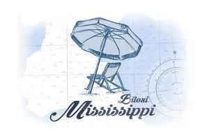 Biloxi, Mississippi - Beach Chair and Umbrella - Blue - Coastal Icon by Lantern Press