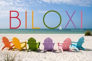 Biloxi, Mississippi - Colorful Beach Chairs by Lantern Press