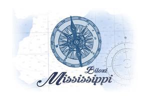 Biloxi, Mississippi - Compass - Blue - Coastal Icon by Lantern Press