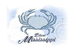 Biloxi, Mississippi - Crab - Blue - Coastal Icon by Lantern Press