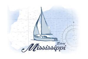 Biloxi, Mississippi - Sailboat - Blue - Coastal Icon by Lantern Press