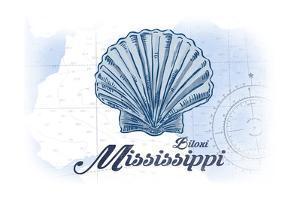 Biloxi, Mississippi - Scallop Shell - Blue - Coastal Icon by Lantern Press