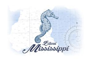 Biloxi, Mississippi - Seahorse - Blue - Coastal Icon by Lantern Press