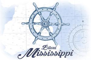 Biloxi, Mississippi - Ship Wheel - Blue - Coastal Icon by Lantern Press
