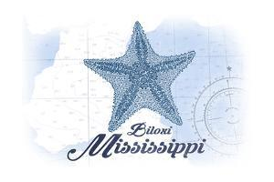 Biloxi, Mississippi - Starfish - Blue - Coastal Icon by Lantern Press