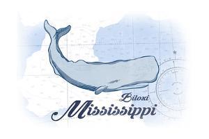 Biloxi, Mississippi - Whale - Blue - Coastal Icon by Lantern Press